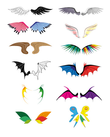 It is a lot of different wings of the angels and demons. Illustration. Vector