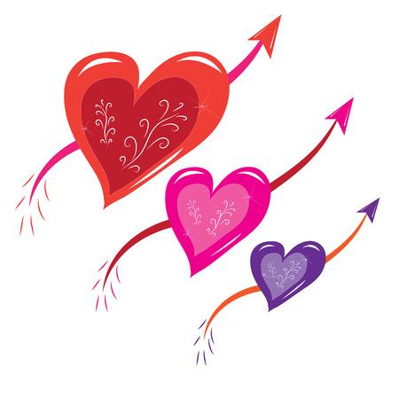 Three hearts with arrows.Illustration.Vector.
