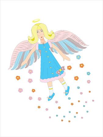 Flying angel in the sky.Illustration.Vector.