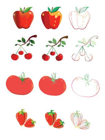 Red fruit.Illustration.