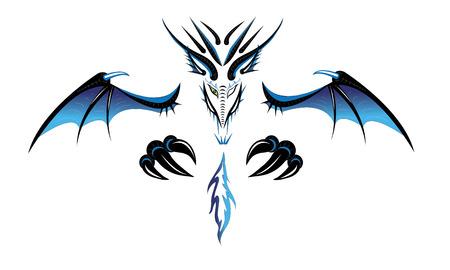 Dragon a demon. Tattoo. Illustration