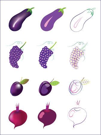 berenjena: Violetas frutas y hortalizas.Ilustraciones. Vector.