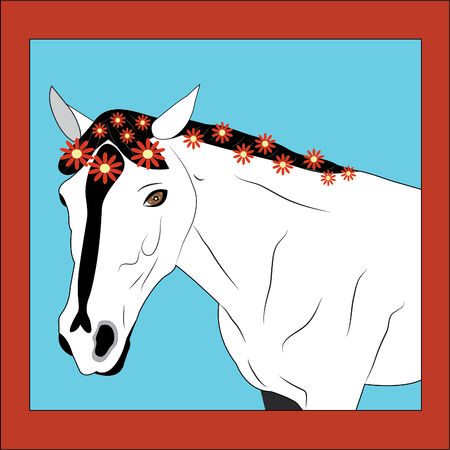 Horse with a flowers. Illustration