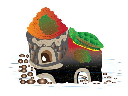 Krasnouhaja turtle on the house. Stock Vector - 9037205