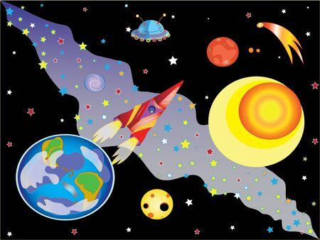meteorites: Flight to Mars. Illustration