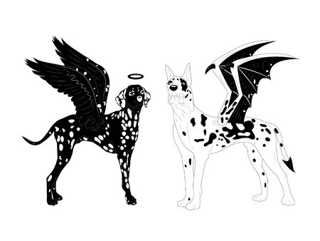 birds of paradise: Dalmatian and marble mastiff.