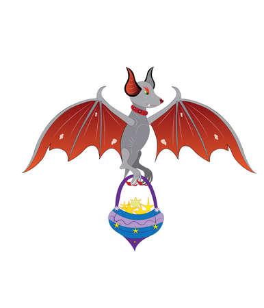 Bat with a basket. Illustration