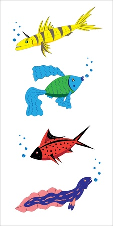 Fantastic small fishes. Vector