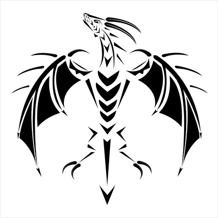 tattoo a flying dragon. Vector