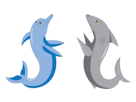 Dolphin and shark.  Illustration