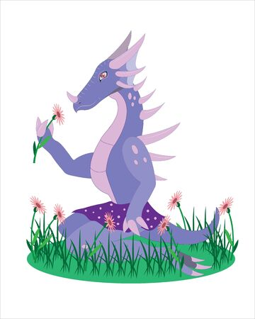 The girl a dinosaur with a flower. Illustration
