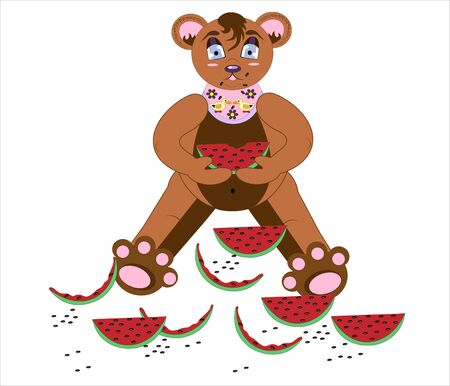 Bear and a water-melon.