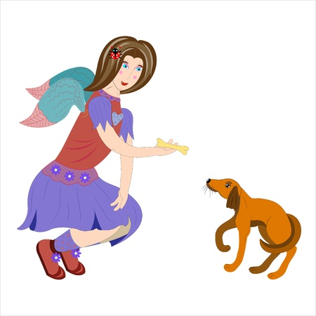 hairpin: Angel feeds a puppy.