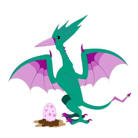 the pterodactyl and egg Stock Vector - 10594748