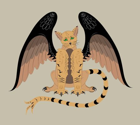 Winged cat Vector