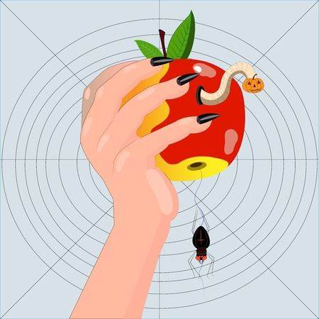 hand with a worm-eaten apple.