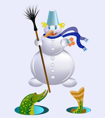 The snowman gives a gift. Stock Vector - 11558154