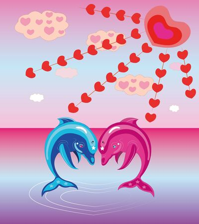 Two enamoured dolphins. Illustration