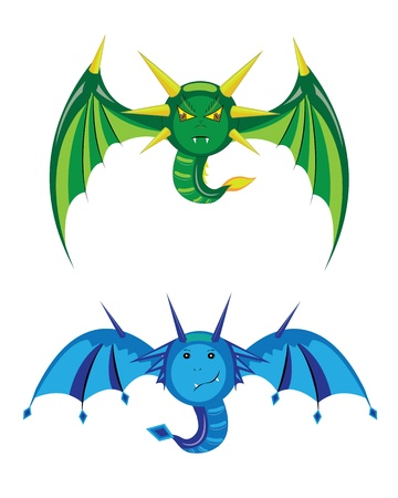 Dragons smilies green and blue.