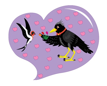 Rook and swallow. Stock Vector - 13232583