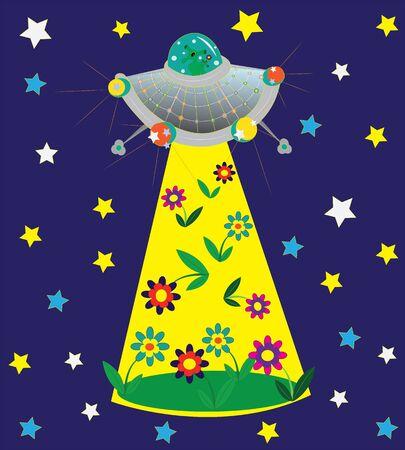 UFO and glade of flowers. Stock Vector - 13318494