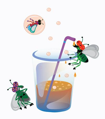 aerated: Aerated water and flies. Illustration