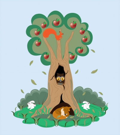 Apple-tree and its animals  Vector