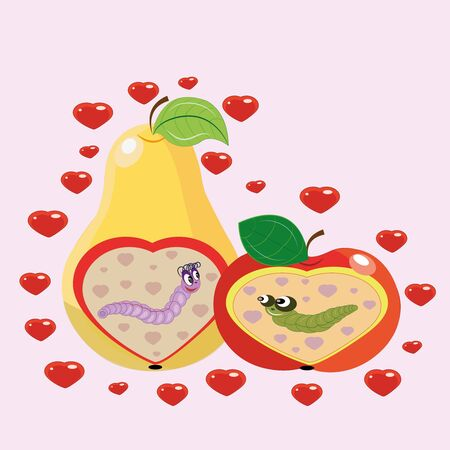 Apple and pear and worms. Illustration