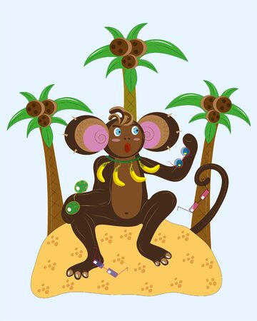 cocos: Monkey and different sunglasses. Illustration