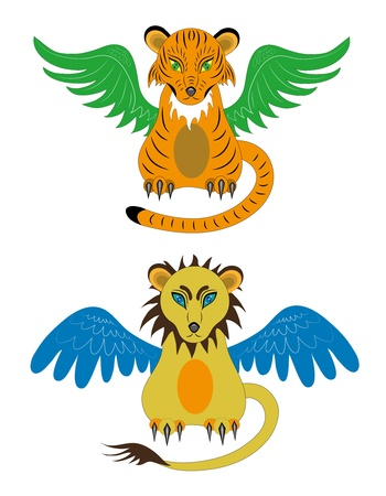 Tiger cub and young lion Stock Vector - 16407506