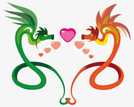 Enamored winged snakes   illustration   vector Stock Vector - 16407507