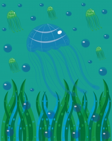 feeler: Jellyfishes in the sea. illustration.