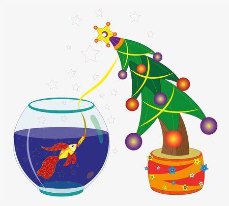 Goldfish and Christmas fir-tree.