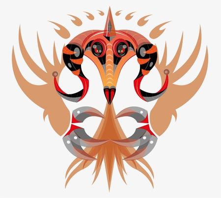 Fantastic fiery dragon. illustration. vector.