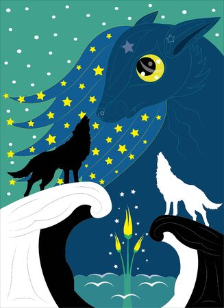 Wolves and moon flower.