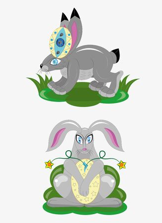 Easter rabbits and eggs.