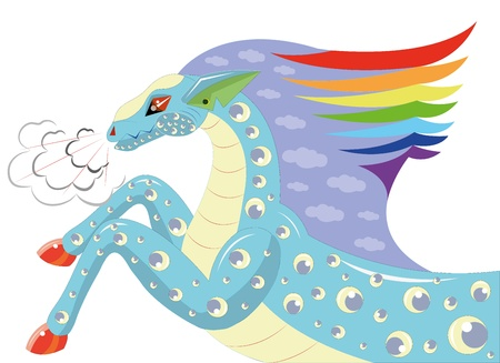hoofs: Horse with a mane a rainbow. Illustration.