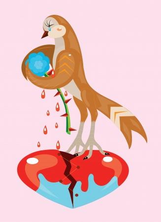 bird nightingale: Nightingale and rose. Illustration