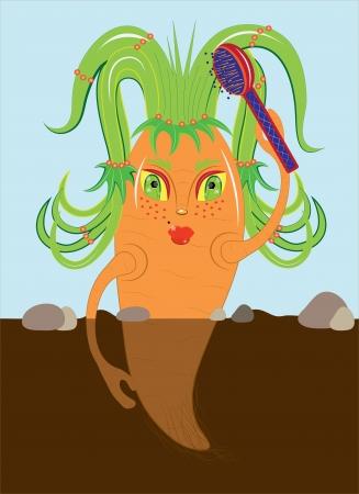 comb hair: Carote pettinano i capelli illustrazione vettoriale