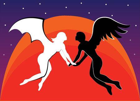 Lovers against the sun  Illustration  Vector  Illustration