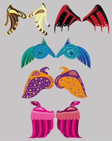 Set of fantastic wings  Illustration  Vector  Illustration