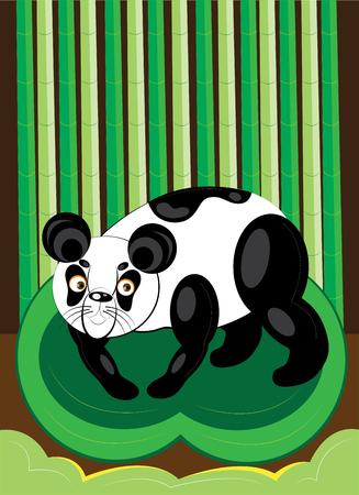 Panda in the bamboo wood
