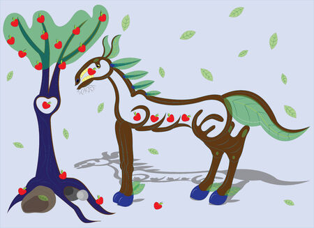 hoofs: Wooden horse and apple-tree  Illustration