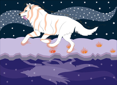 Running wolf the dreamer  Vector