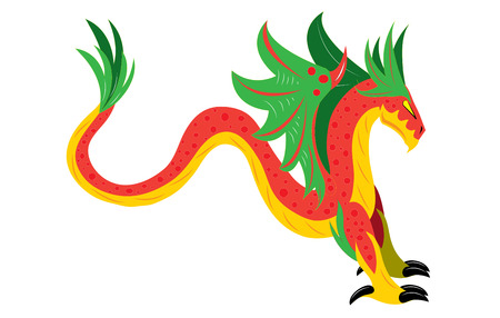 Winged snake dragon Vector