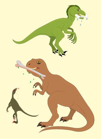 tyrannosaur: Dinosaurs and tasty stones. Illustration. vector.