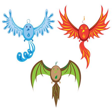 Three birds of elements