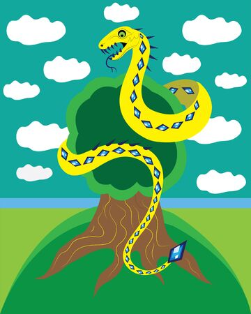 toxic cloud: Snake and tree of life.