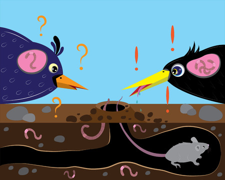 mouse hole: Birds and worms and mouse. Illustration