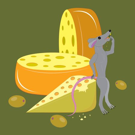 Cheese and olives and mouse.